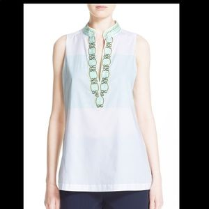 Tory Burch Tessa Embroidered Sleeveless Tunic Top